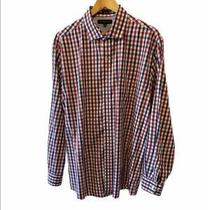 MENS TOMMY HILFIGER Plaid Button Up Collared Shirt